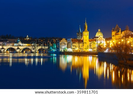 Vltava River and Old Town at night in Prague - stock photo