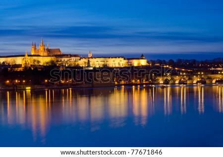 Vltava River, Charles Bridge and Prague Castle at night, Prague, Czech Republic