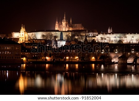 Vltava River, Charles Bridge and Prague Castle at night, Prague, Czech Republic - stock photo