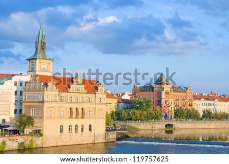 Vltava river embankment, Prague, Czech Republic - stock photo