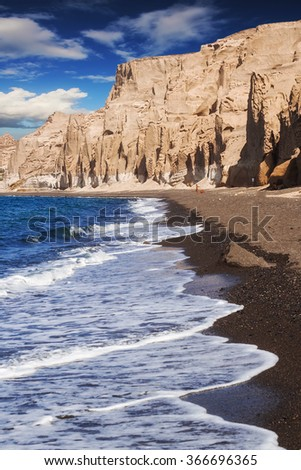 Vlychada beach on Santorini island, Greece - stock photo