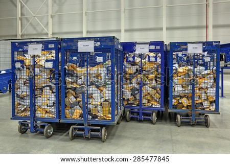 VNUKOVO, MOSCOW REGION, RUSSIA - APR 7, 2015: Russian Post. Logistics center in Vnukovo, parcels in containers