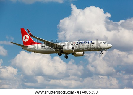 VNUKOVO, MOSCOW REGION, RUSSIA - 02 July, 2013: Airplanes at Vnukovo international airport. Turkish Airlines Boeing 737 landed on runway - stock photo