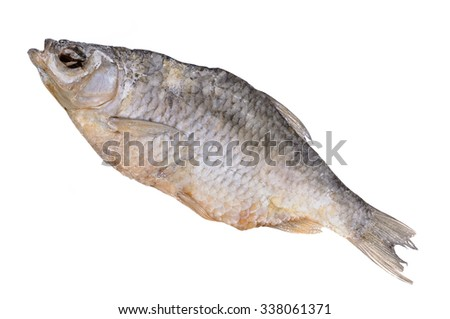 Vobla. Dried salted fish. Closeup. Isolated on white background.