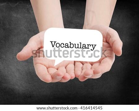 Vocabulary written on a speechbubble - stock photo
