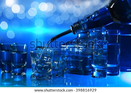 vodka in bar on a glass table