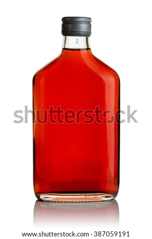 Vodka infused with cranberries in a flat glass bottle on a white background. - stock photo