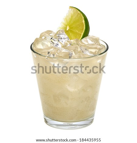 Vodka lemon with ice and lemon slice on white background - stock photo