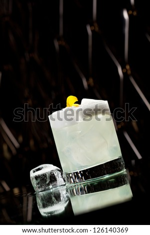 Vodka Sour - Cocktail with Vodka, Sugar Syrup, Lemon Juice and Egg White - stock photo