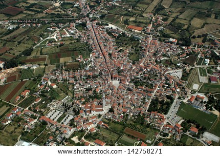 Vodnjan - old city in Istra, Croatia - aerial view