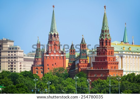 Vodovzvodnaya and Borovistakaya towers in Moscow in summer time Kremlin in Moscow, Russia - stock photo