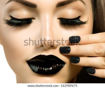 Vogue Style Fashion Girl with Black Lipstick and Trendy Black Caviar Manicure. Long False Eyelashes - stock photo
