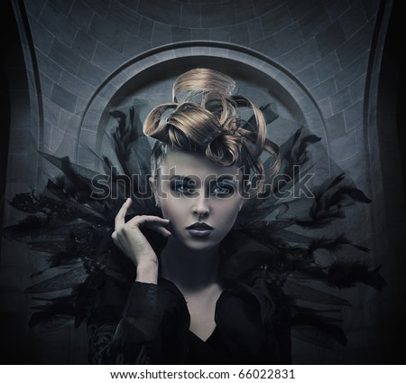 Vogue style photo of a gothic woman - stock photo
