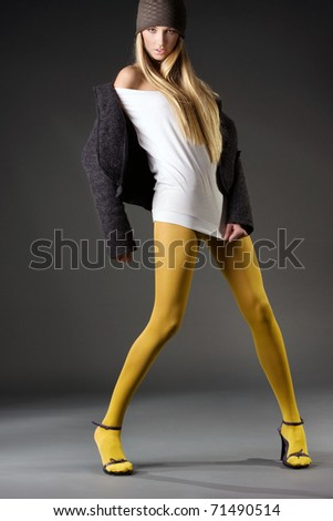 Vogue style photo of a young woman - stock photo