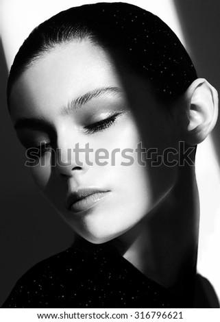 Vogue style photo of sensual woman - stock photo