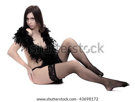 Vogue style photography young beautiful Gothic Girl dressed on black lingerie with boa. G
