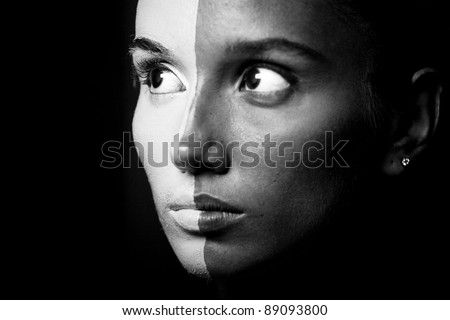 Vogue style portrait of a woman with b&w makeup. Closeup. - stock photo