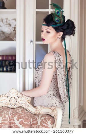 Vogue style vintage portrait. Chicago, 1930-40s theme. Retro-stylized woman - stock photo