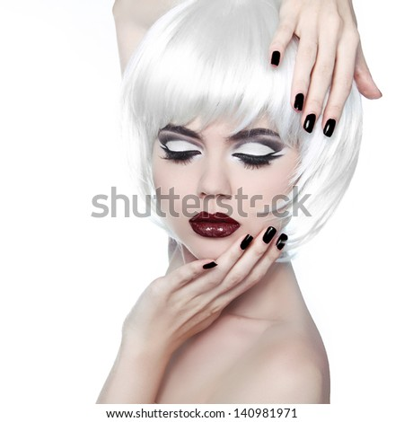 Vogue Style Woman. Makeup and Hairstyle. Fashion Stylish Beauty Woman Portrait with White Short Hair. Manicured nails. - stock photo