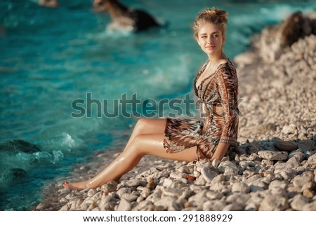 Vogue woman at beach summer vacation,Beautiful sexy girl outdoor portrait, tanned female model, sensual young woman in sunset, fashion woman bikini model outdoors, series - stock photo