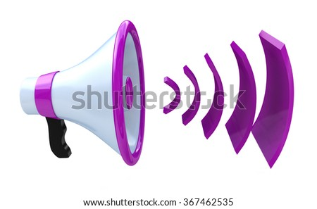 Voice broadcasting. Megaphone or loudspeaker when you make information relating to voice and messages - stock photo