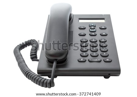 Voice over IP phone with LCD display with a clipping path on an isolated background