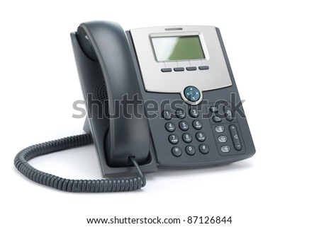 VOIP phone (IP phone) isolated on a white background. - stock photo