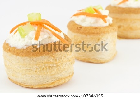 vol au vent with ricotta cheese and vegetables