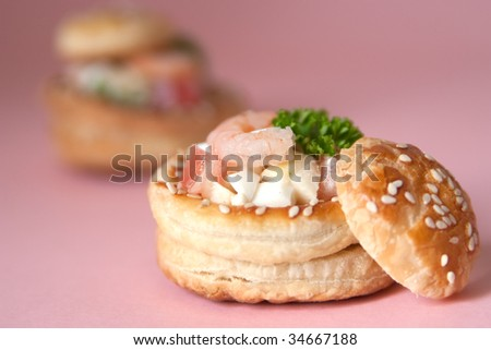 Volauvents filled with fresh shrimp salad - stock photo