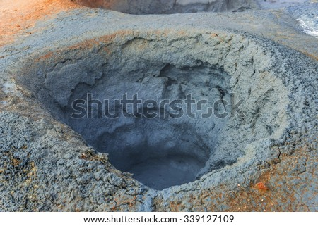 Volcanic activity as hot springs on Iceland, summer, 2015 - stock photo