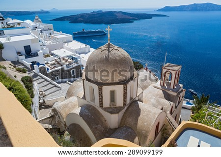 Volcanic caldera and St. John's church from Fira, Santorini, Grece - stock photo