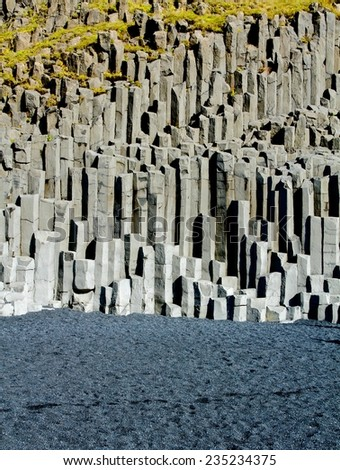 Volcanic cliff at black sand beach, Iceland