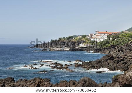 Volcanic coastline landscape of Pico island, Azores - stock photo