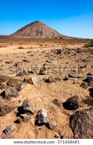 Volcanic crater and rocks on Sal Island, near Buracona bay. Martian like landscape of Cape Verde