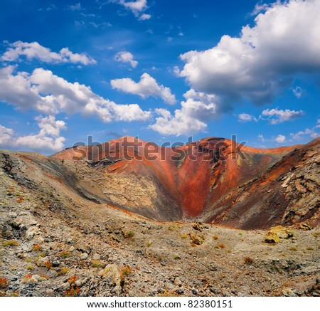 Volcanic crater in Mountains of fire,Timanfaya National Park in Lanzarote Island - stock photo