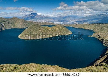Volcanic crater lake Laguna Cuicocha in Ecuador - stock photo