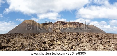 Volcanic crater on the Lanzarote island. - stock photo