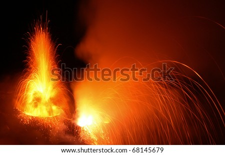 Volcanic eruption at volcano Stromboli in Italy - stock photo