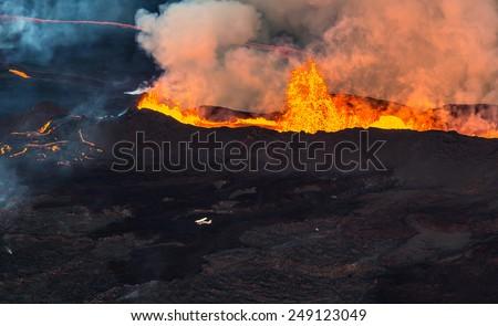 Volcanic eruption in Iceland  - stock photo