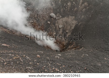 Volcanic gas inside crater