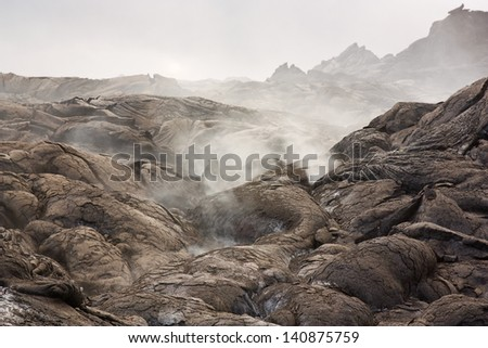 Volcanic gases of Kilauea volcano - stock photo