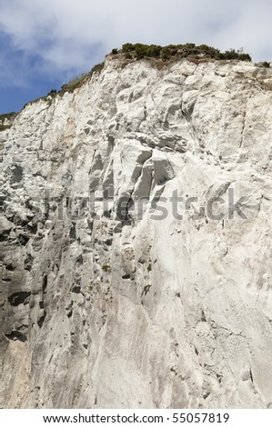 Volcanic geologic formation of Morro de Castelo Branco in Faial island, Azores, Portugal - stock photo