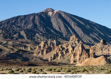 Volcanic ladscape with clouds in Teide National Park, Tenerife, Canary Island, Spain