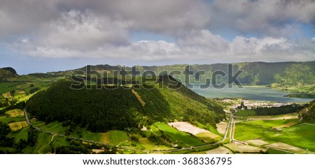 Volcanic lake Sete cidades in Sao Miguel island - stock photo