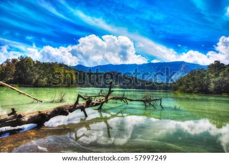 Volcanic lake Telaga Warna at plateau Dieng - stock photo