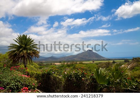 Volcanic landscape at Casela nature park in Mauritius - stock photo
