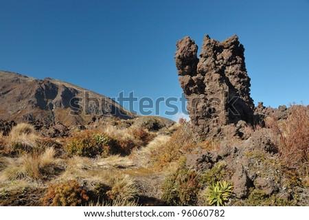 Volcanic Landscape at Tongariro National Park - New Zealand - stock photo