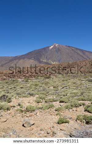 Volcanic landscape - desert mountain - Teide, tenerife - stock photo