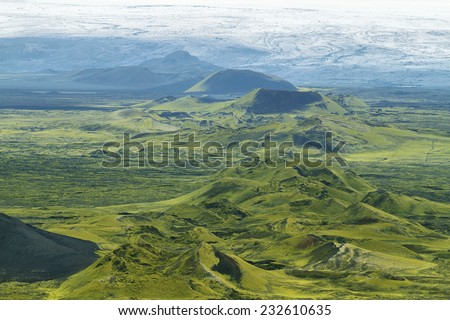 Volcanic landscape in Lakagigar, Iceland highlands - stock photo