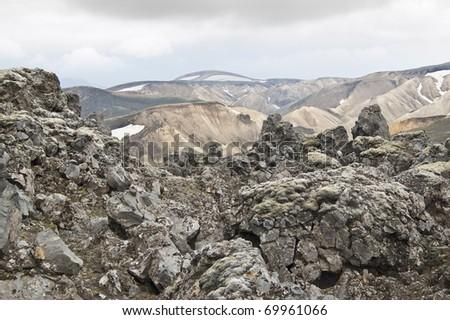 Volcanic landscape in Landmannalaugar (Iceland) - stock photo